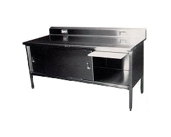 180-4 - Stainless Steel Enclosed Deli Table w/ Sliding Doors & Riser