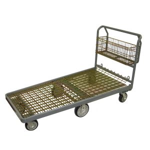 Steel Nesting Flatbed Cart w/Basket