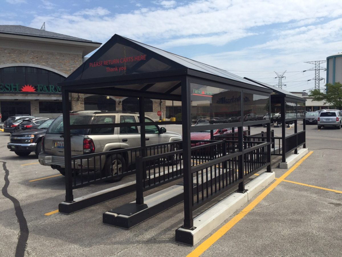 Metal Shelter Grocery Cart : Covered cart corrals rw rogers
