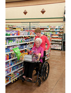 Wheel Chair with Front Basket in use