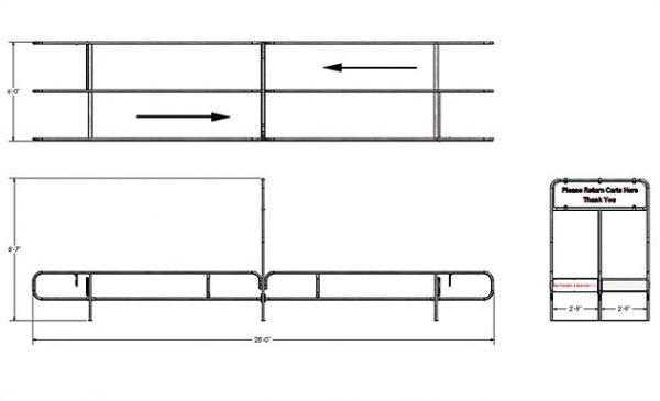 721 Series Bi Directional Cart Corral Dimensions