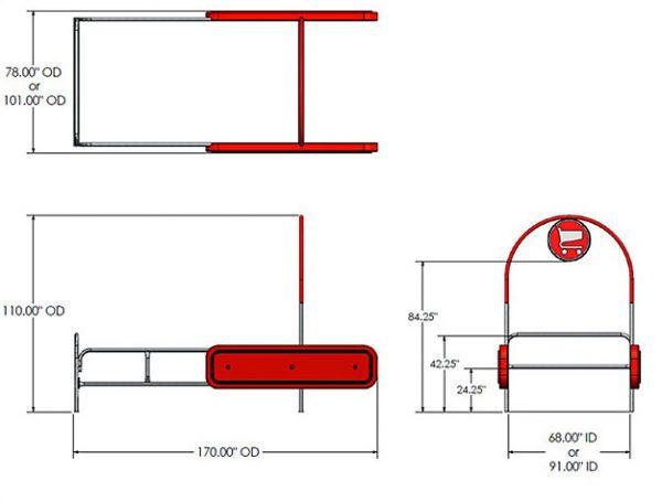 Bumper Cart Corral Arc Style Dimensions